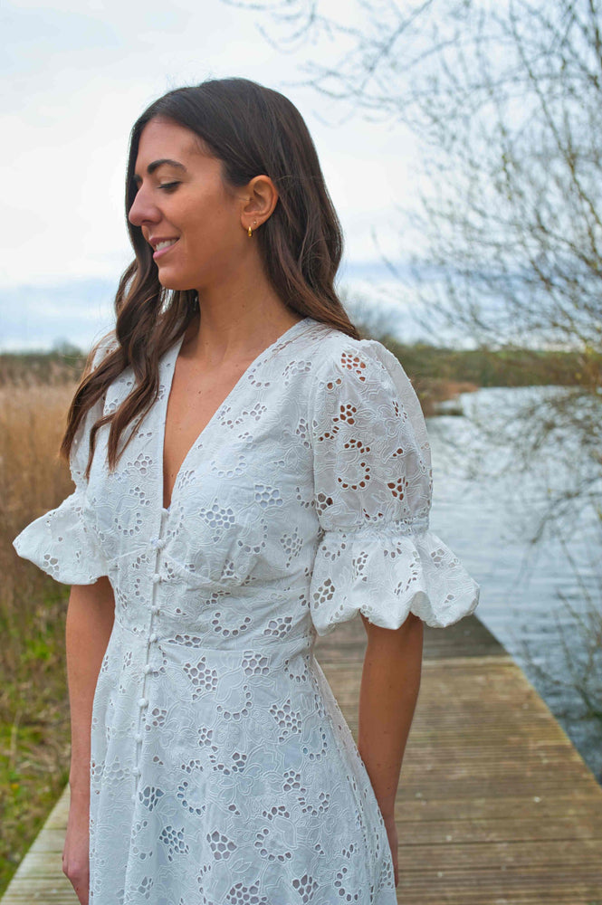 Broderie Lace Through Button Dress