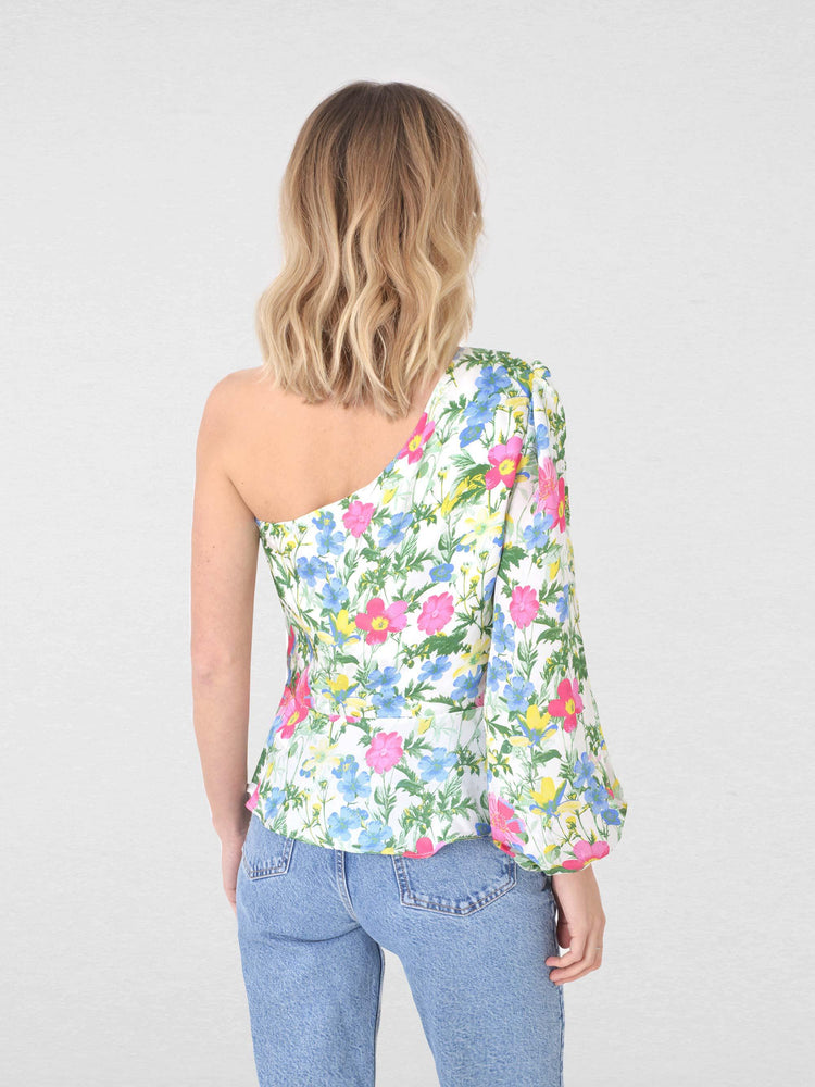 Floral One Shoulder Peplum Top
