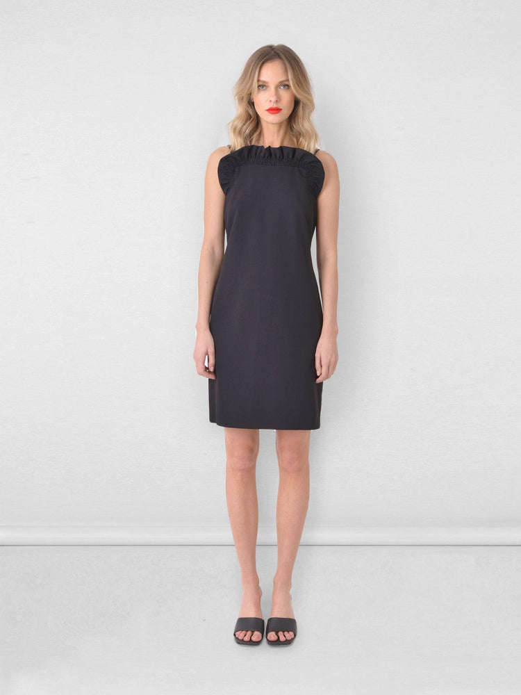 Frill Neck Shift Dress
