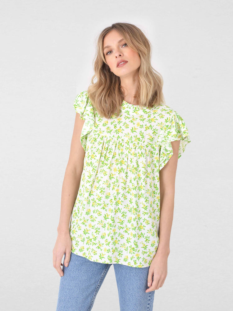 Ditsy Floral Ruffle Sleeve Top