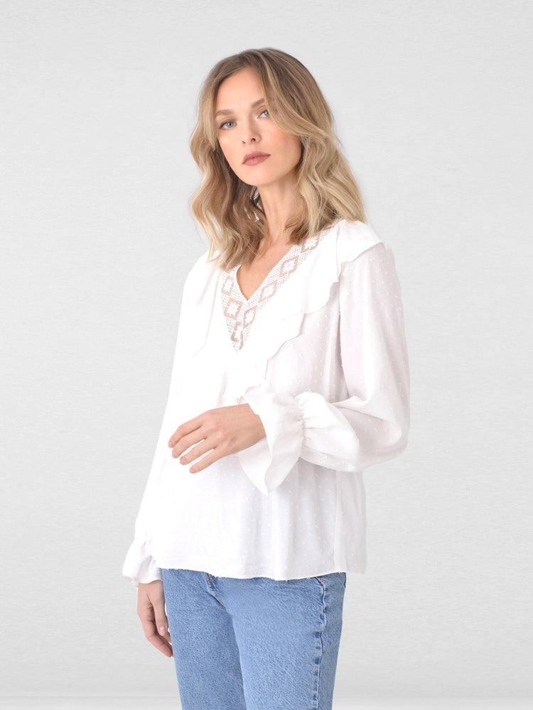 Trim V Neck Ruffle Blouse