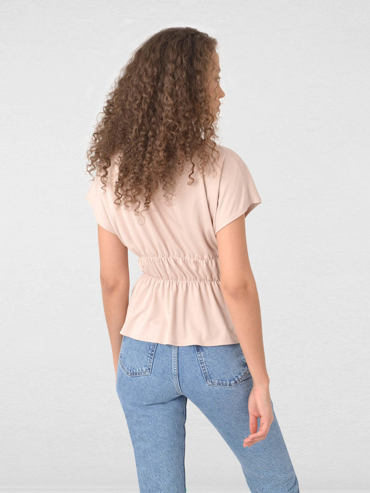 Shirred Waist Jersey Top