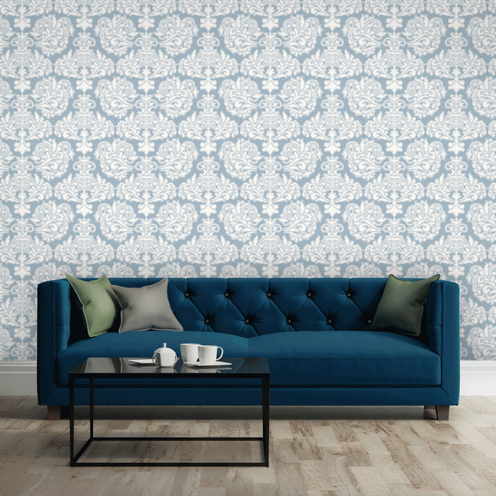 GREY BLUE DAMASK