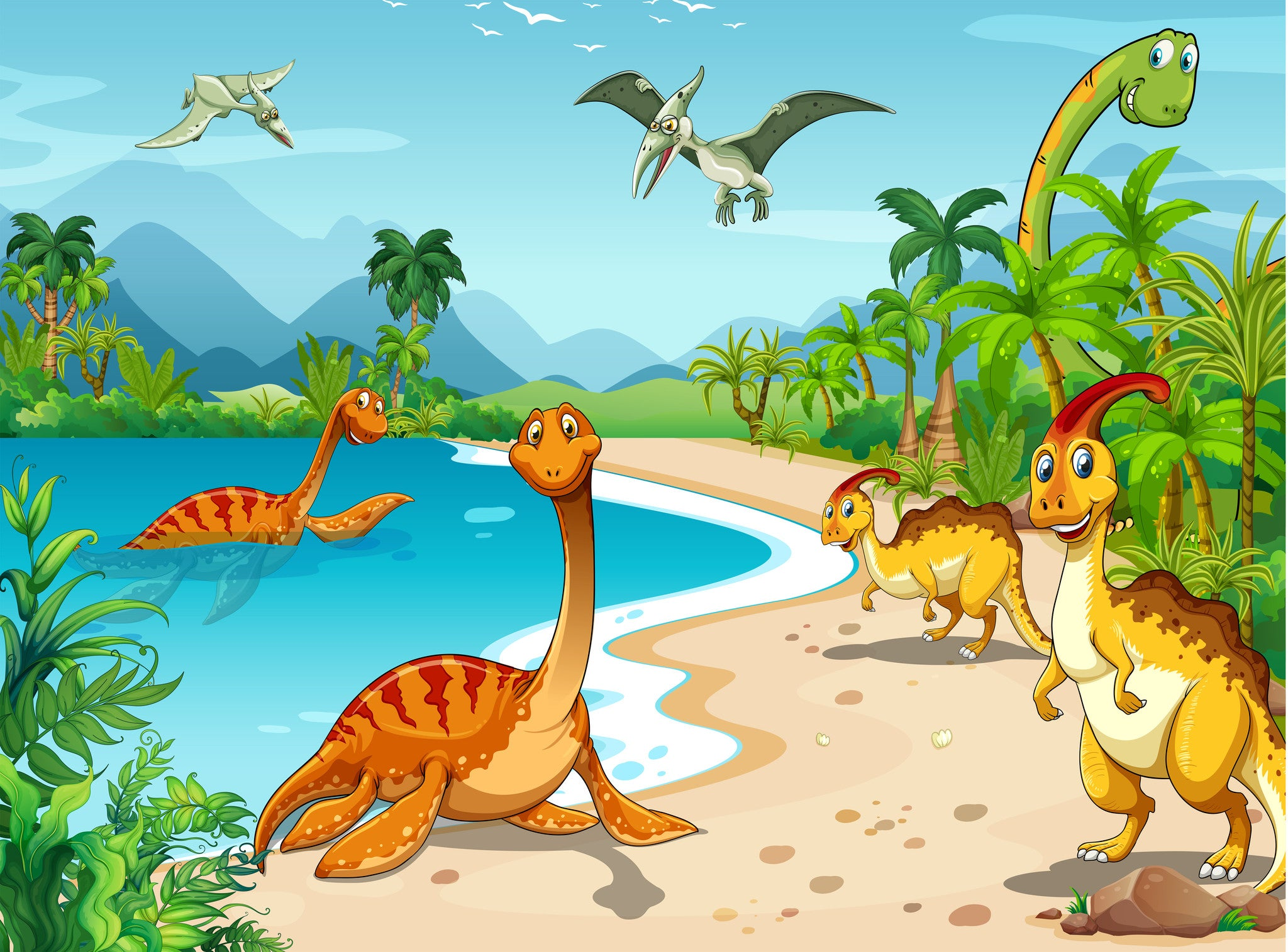 Dinosaurs on the Beach