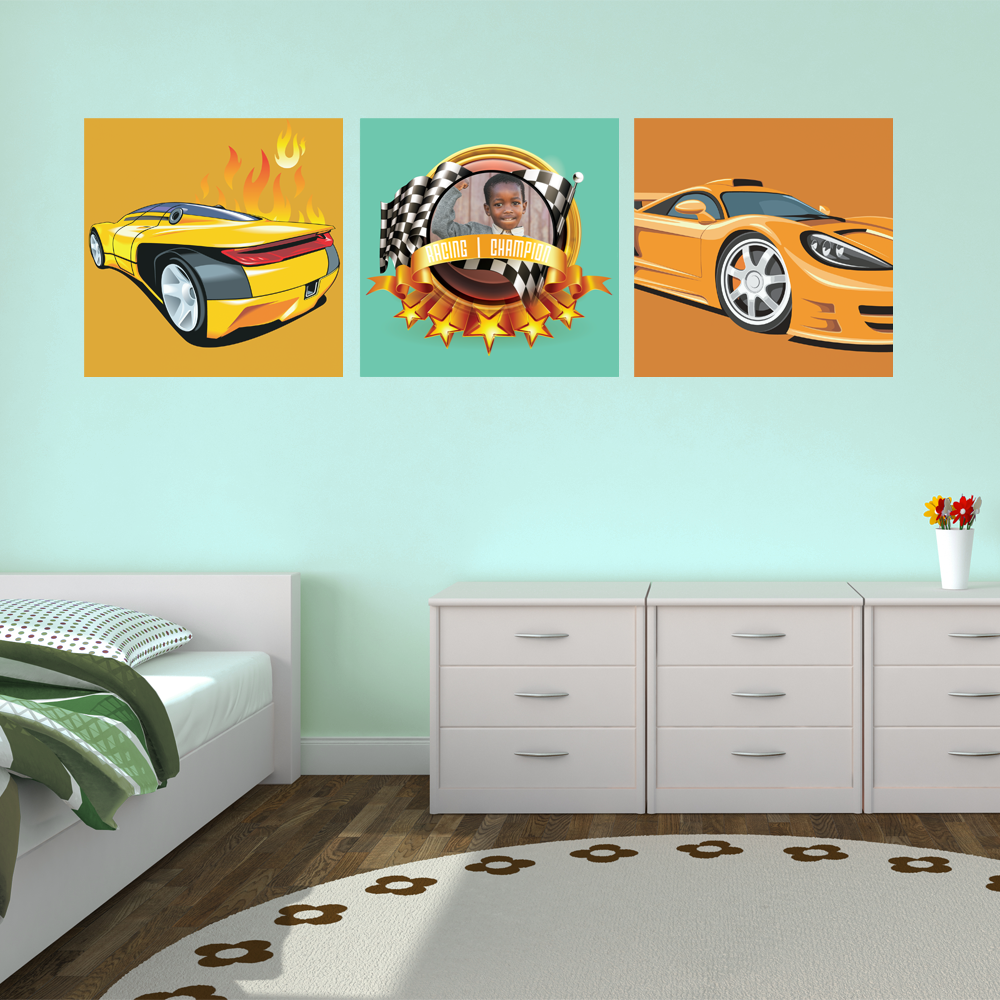 Racing Cars Room Squares