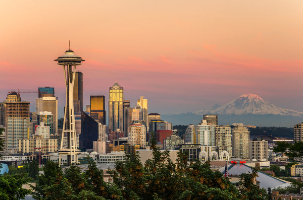 Seattle and Mt. Rainer at Sunset