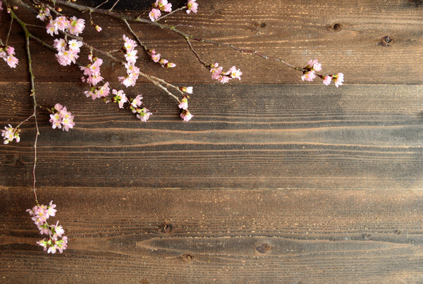 Cherry Blossoms on Japanese Wood