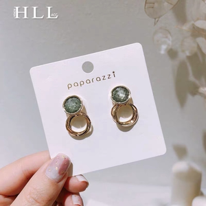 S925 Emerald Circle Earring 个性宝石绿金属耳环