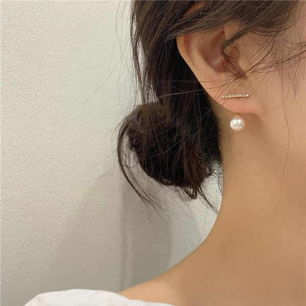 S925 Crystal Block with Pearl Earring 水钻小一横珍珠耳钉