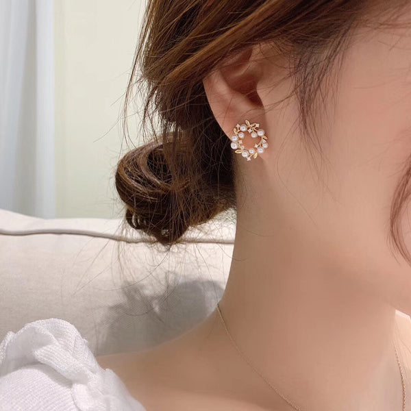 S925 Olive Branch Butterfly Earring 橄榄枝蝴蝶珍珠耳钉