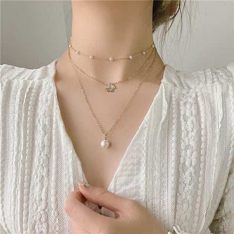 3 pieces Butterfly Pearl Necklace 三件套蝴蝶珍珠可拆气质项链