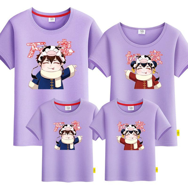 Chinese Doll with Cute Cow Hat Family Tshirt 《中国娃娃萌牛头套》家庭装