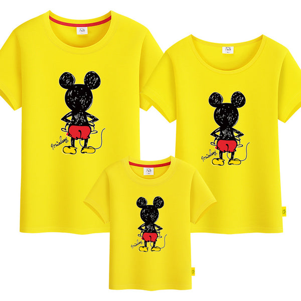 Back Mickey Mouse Cartoon Print Family Tshirt 背影米奇家庭装