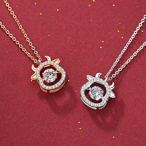 925纯银镂空满钻灵动萌牛项链 925 Silver Sparkling Dance OX Pendant Necklace