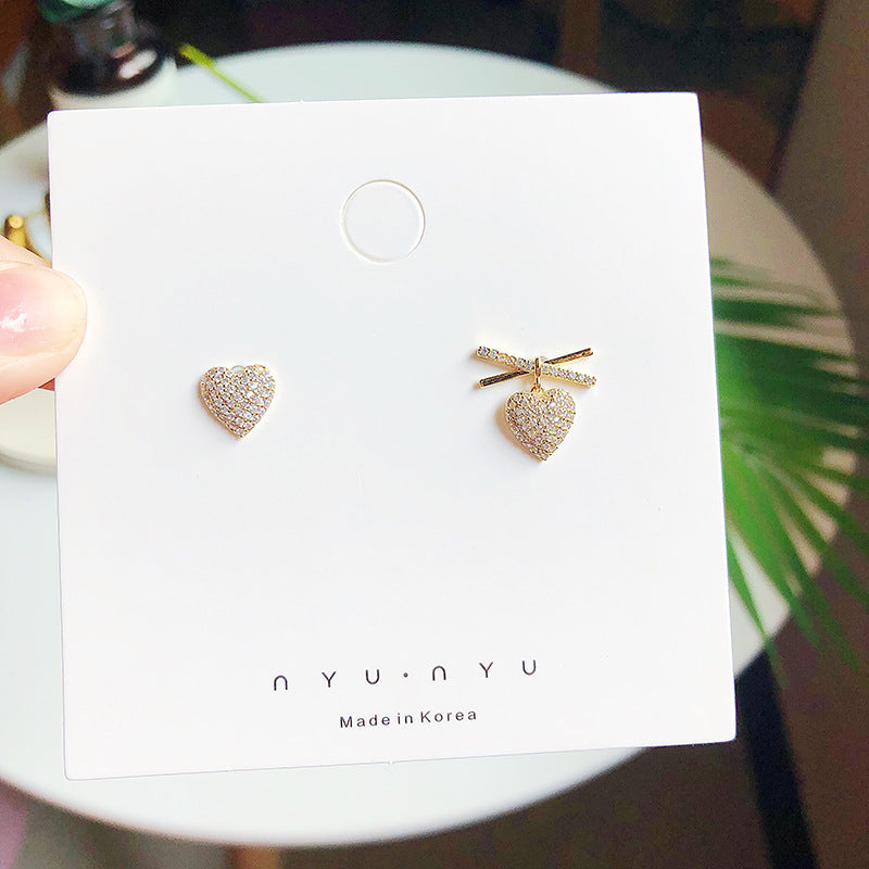 S925 Asymmetry Crystal Heart Shape Earring 不对称心形微镶锆石耳环