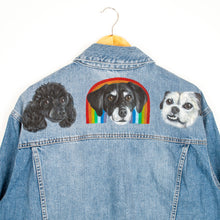 Load image into Gallery viewer, Miniature Hand-Painted Pet Portrait Denim Jacket - 1-5 Pets - Adult