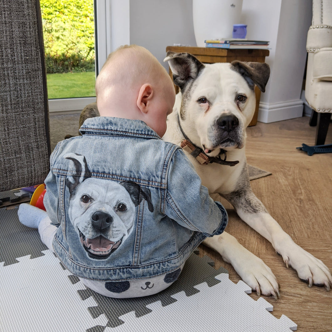 Children's Custom Pet Portrait Hand-Painted Denim Jacket - 0-14 years