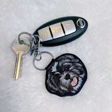 Load image into Gallery viewer, Hand-Painted Pet Portrait Faux Leather Keyring