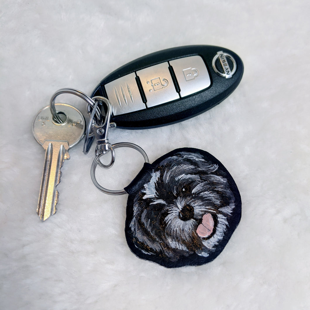 Hand-Painted Pet Portrait Faux Leather Keyring