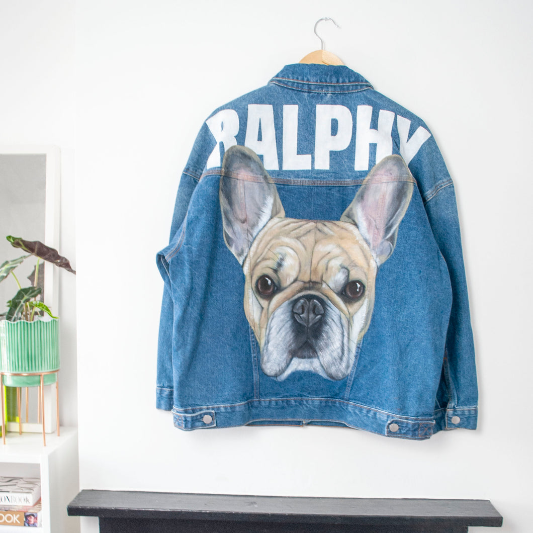With Jacket - Adult Custom Pet Portrait Hand Painted Denim Jacket