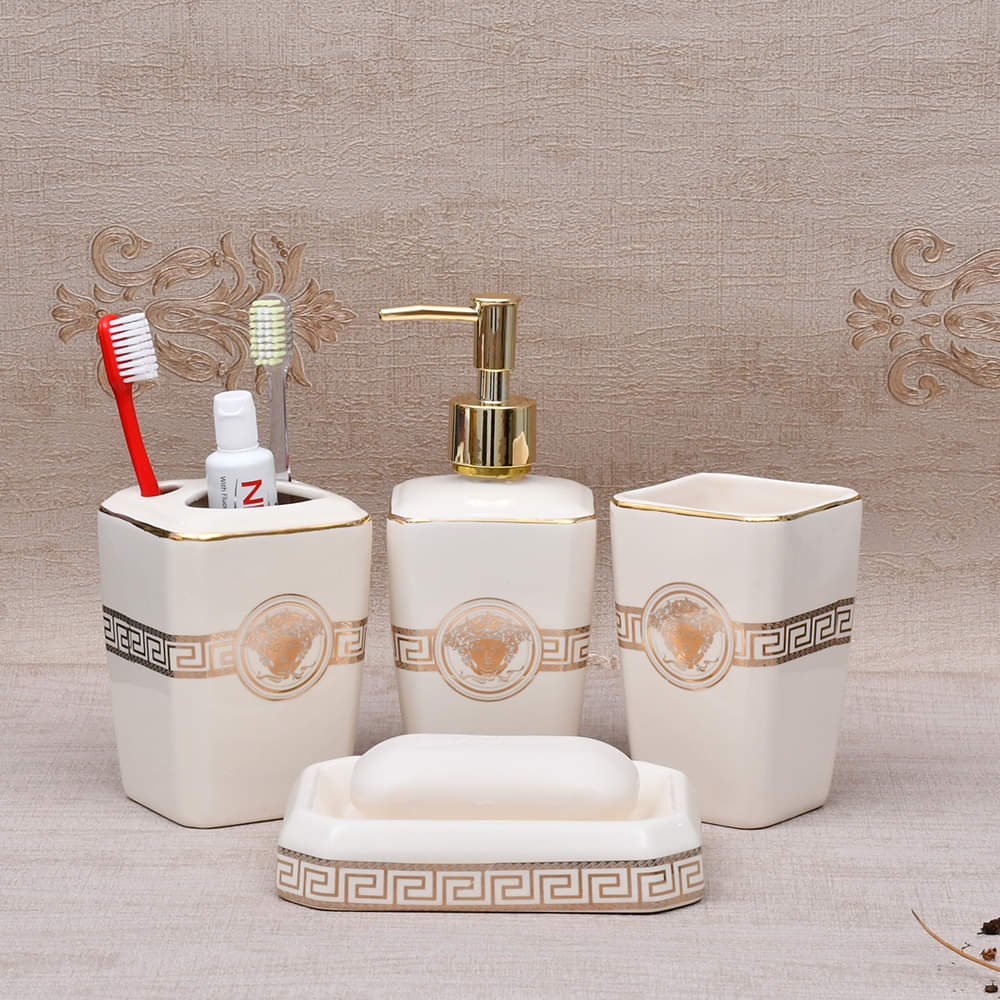 Versace Bathroom Accessories Set -Oblong Cream 4 Pcs