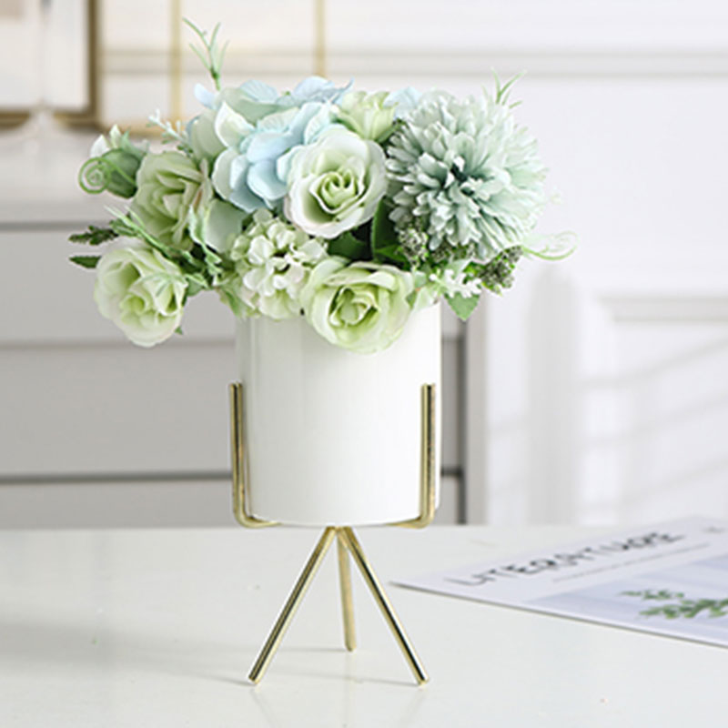 White Classic Marble Finish Porcelain Flower Pot