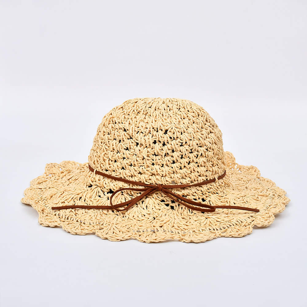 Stylish Girl Ribbon Hat - Brown & White