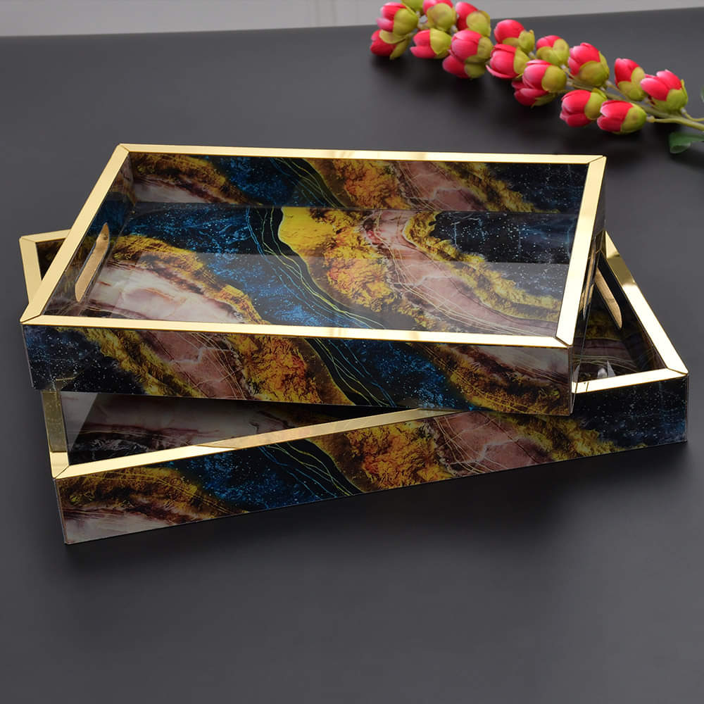 Pair of Abstract Art Marblene Pattern Wooden Serving Tray
