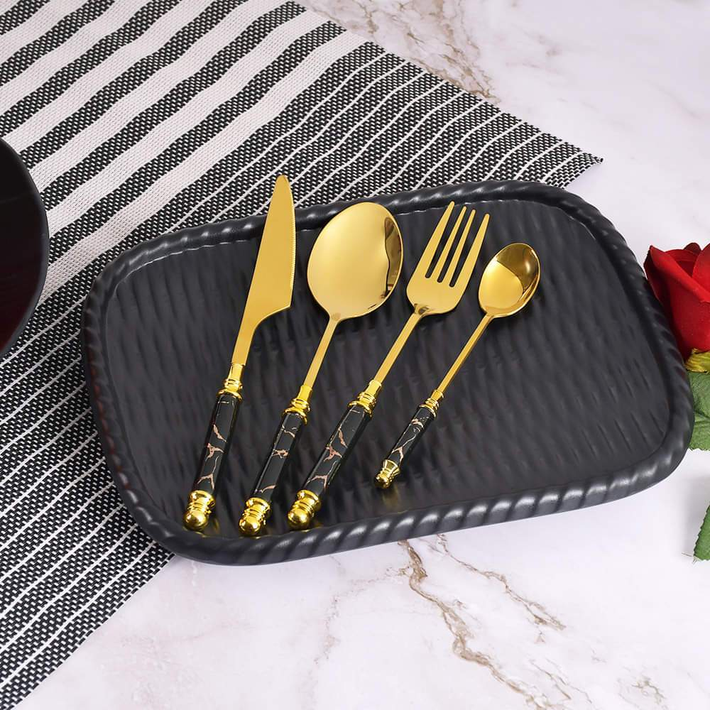 Lavish 4 Pcs Single Serving Stainless Steel Gold Cutlery Set with Black Marblene Pattern Handle