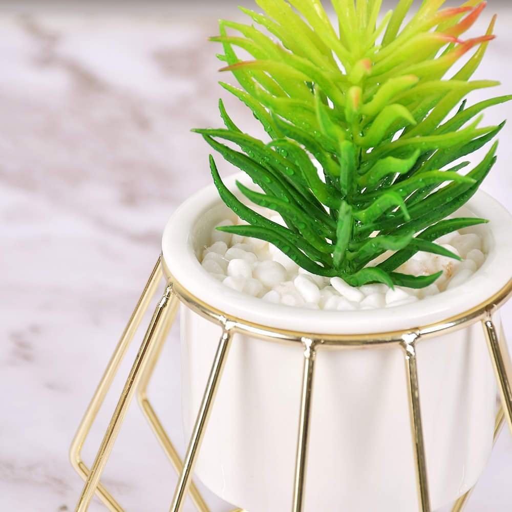 Classic White Ceramic Flower Pot with Hexagon Stand with Planter (Artificial Plants)