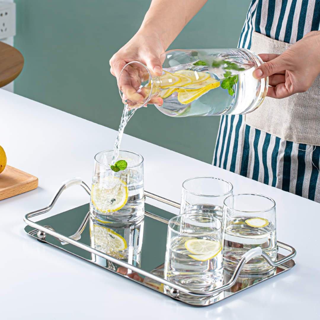 Nordic Style Cylindrical Jug Glass Set with Cork Lid -8 Pcs (Multi-Chromatic) & Glass Tray