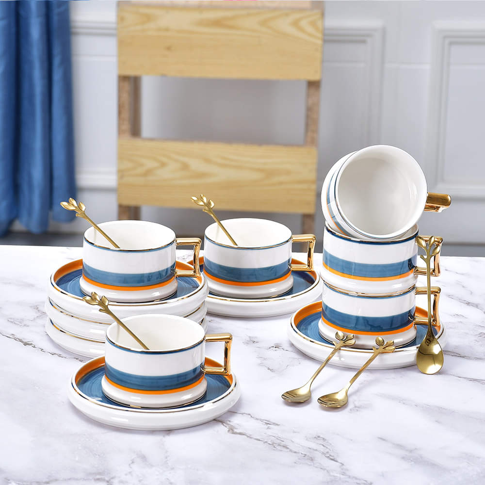 Classic Modish Nordic Cup with Saucer and Spoon (Set of 6)