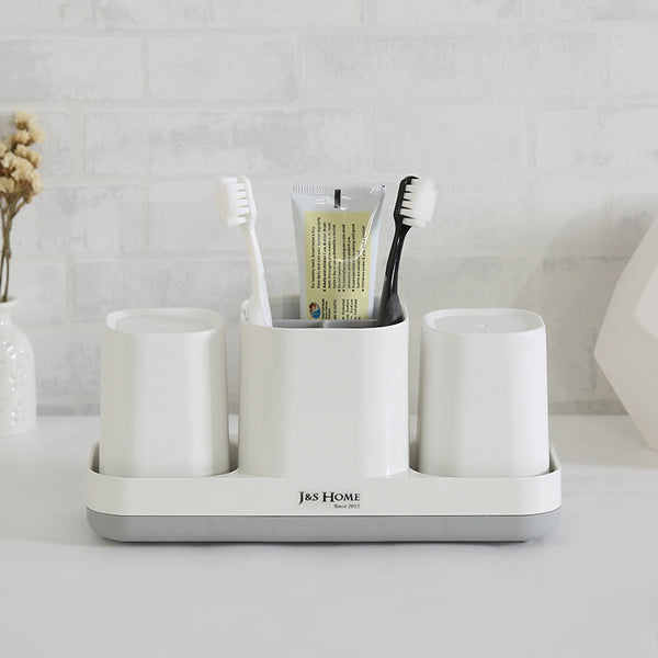 J&S Homes White Plastic Brush Holder &  Rack-4 Pcs