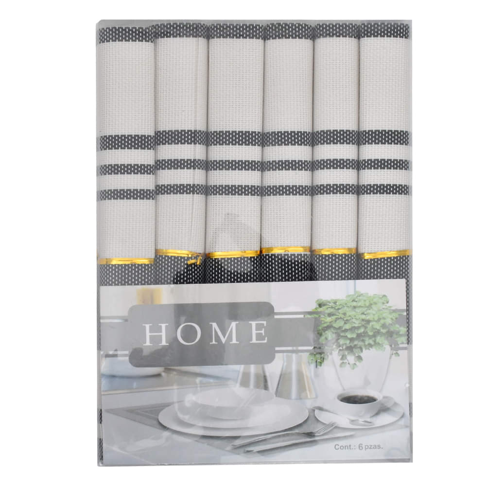 Assorted PVC Table Mats-Black Line (Pack of 6)