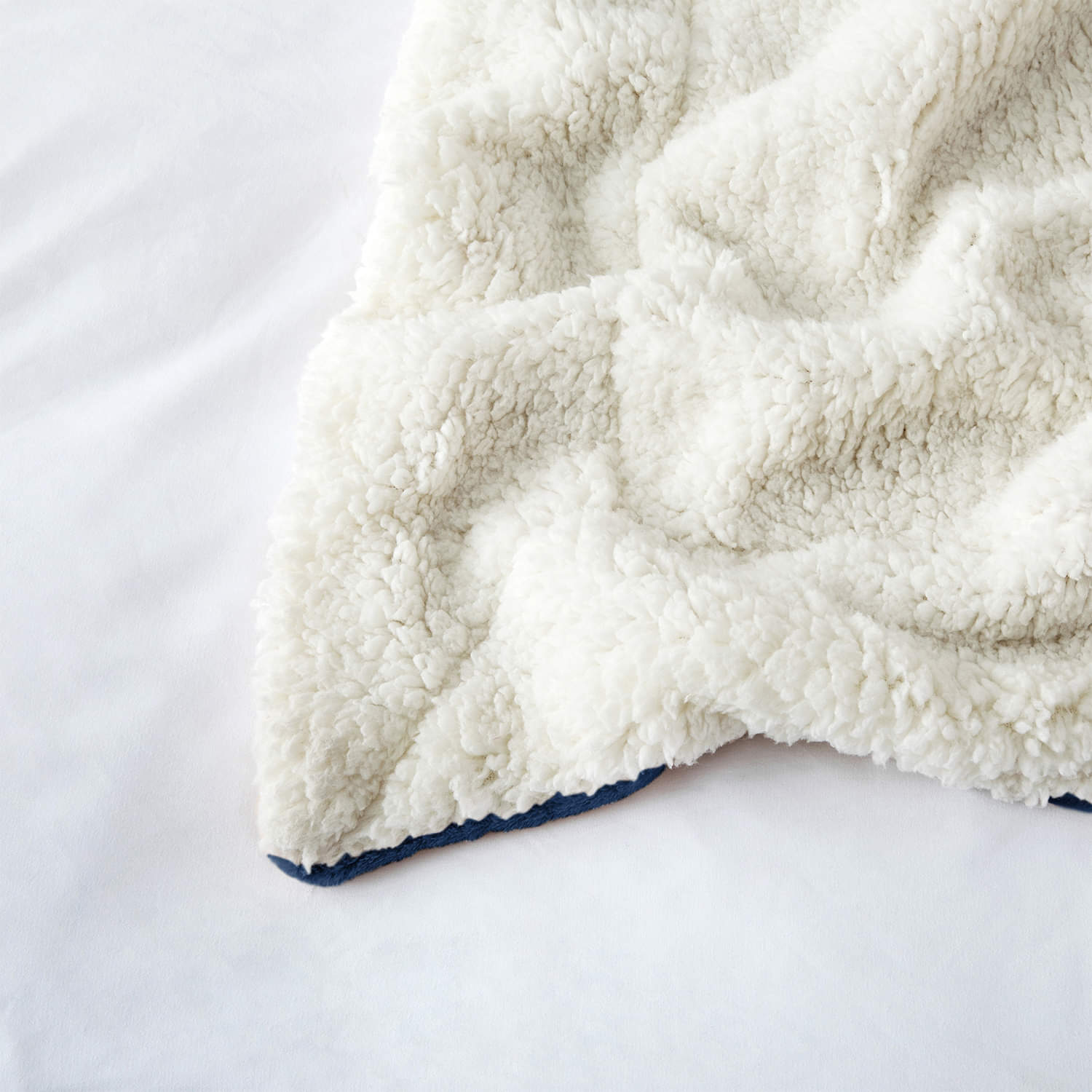 Ultra Soft Sherpa Throw Blanket - Navy Blue