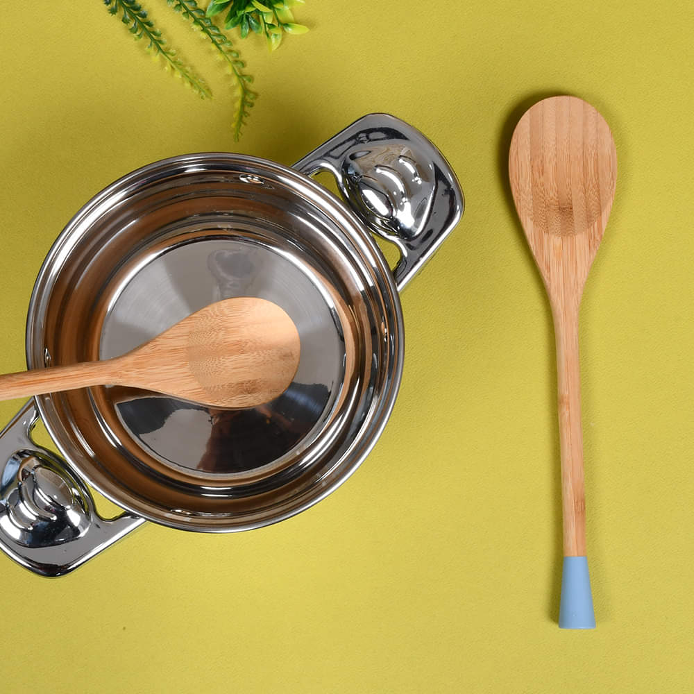 Bamboo Wood Silicone Serving Spoon (Single)
