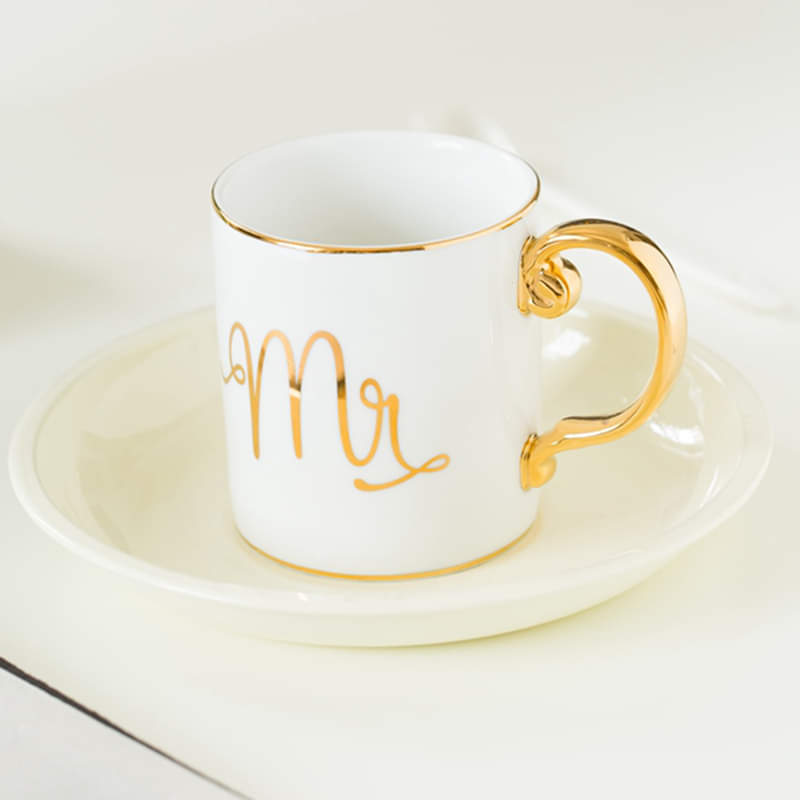 Pair of Mr & Mrs Gold Art Mug