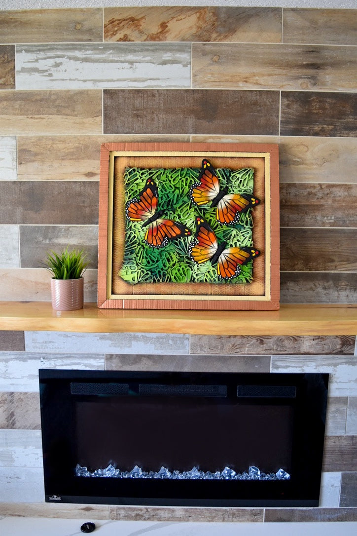 Monarch Butterfly on a 3D Composition Frame