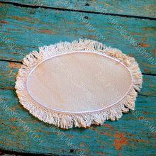 Load image into Gallery viewer, Oval Raggy Distressed Burlap Center Stitched Hat Patch Sublimation Blank with Glue Paper