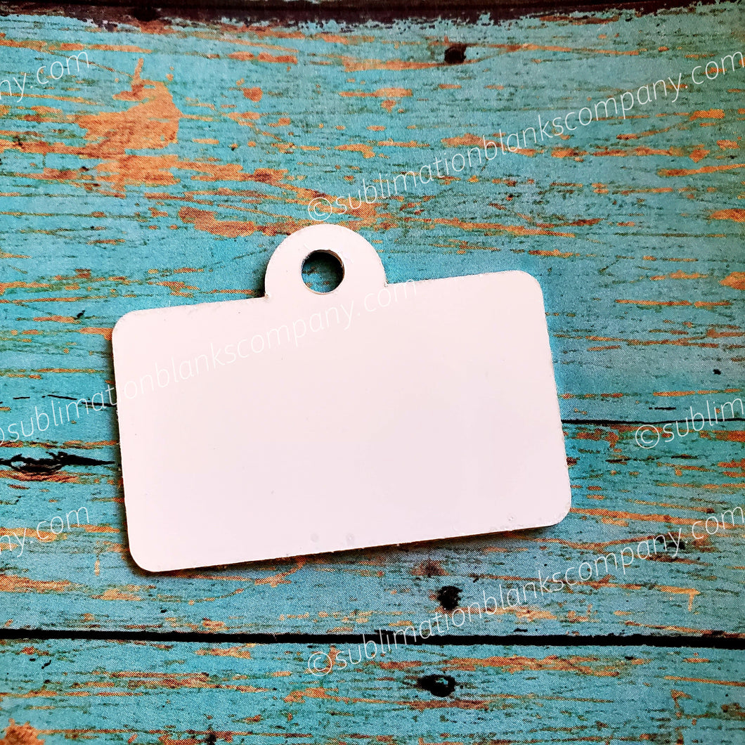 2-sided Rectangle License Plate Pet ID Tag  with Hanging Ring
