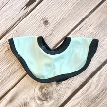 Load image into Gallery viewer, Round Infinity Baby Bib with Black Trim Sublimation Blank. Snap Closure