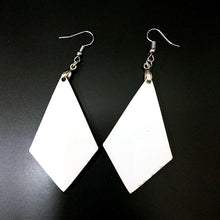Load image into Gallery viewer, Pair of Diamond Shaped 2-Sided Earrings Sublimation Blanks with Hanging Hardware (set of 2)