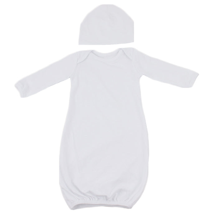 Newborn Baby Sleeping Gown and Hat Sublimation Blank Set. 2 Sleeve Options!