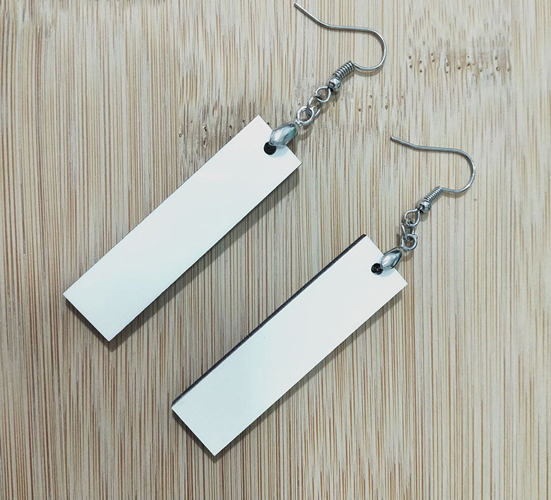 Pair of Long Rectangle 2-Sided MDF Sublimation Earrings with Hanging Hardware (set of 2)