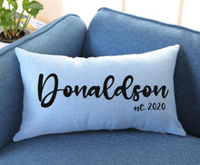 Load image into Gallery viewer, Blue Burlap Pillow Cover Sublimation Blank. Rectangle and Square!