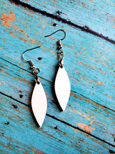 Load image into Gallery viewer, Pair of Long Leaf Shape Sublimation Blank MDF Earrings with Hanging Hardware (set of 2)