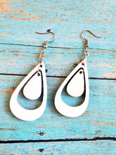 Load image into Gallery viewer, Pair of 2-sided Double Teardrop Shape MDF Earring Blanks with Hanging Hooks (set of 2)