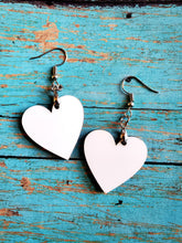 Load image into Gallery viewer, Pair of Heart Shape 2-sided MDF Earrings Sublimation Blanks with Hanging Hardware (set of 2)