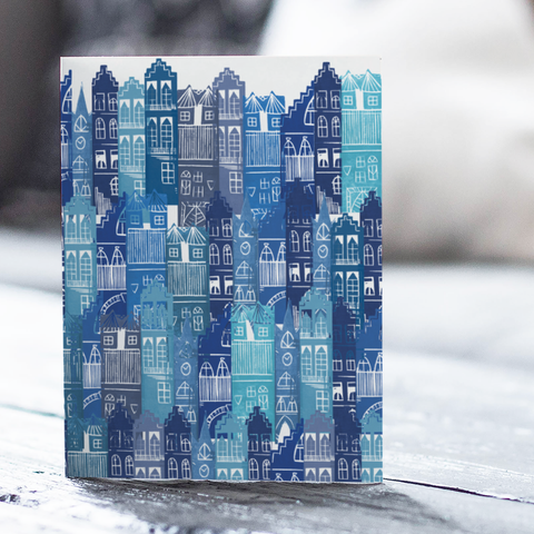 Blue Edinburgh Cityscape Card (with free postage)