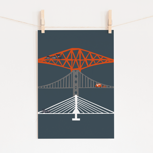 NEW! Forth Bridges at Night Art Print